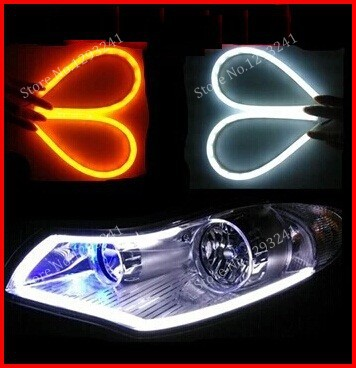 1 pair 85CM Flexible Car Headlight LED Strip Turn Signal Daytime Running Light Styling DRL - Auto Parts Supplier store