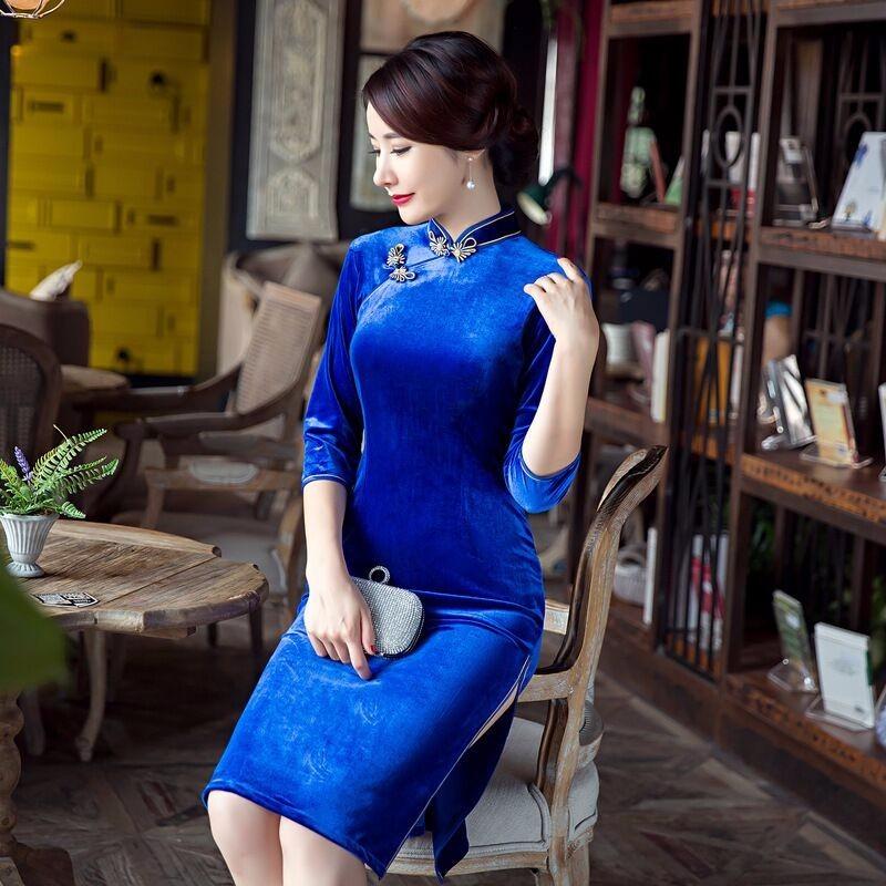 สีฟ้าของผู้หญิงCheongsamแฟชั่นสไตล์จีนมินิชุดที่สง่างามบางสั้นพิมพ์QipaoขนาดSml XL XXL XXXL F090608 ถูก