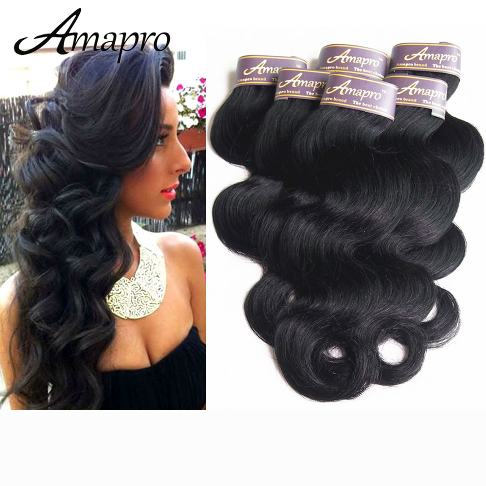 Amapro Hair Product Malaysian Body Wave 6 bundles/lot Human Weave 8-28 inch Wholesale Factory Price 100% Human Hair Body Wave