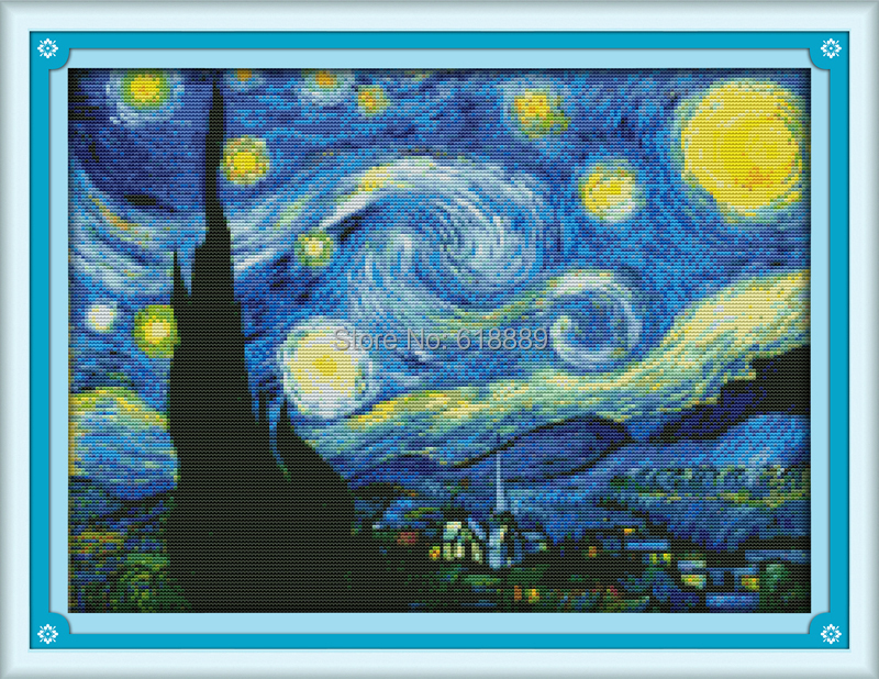 The Starry Night of Van Gogh Counted Cross Stitch DMC Cross Stitch DIY Cross Stitch Kits for Embroidery Home Decor Needlework(China (Mainland))