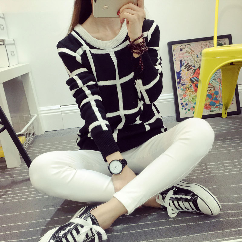 Autumn Winter Sweater Women Fashion O neck Pullover Thickening Pullover Casual Plus Size Black White font