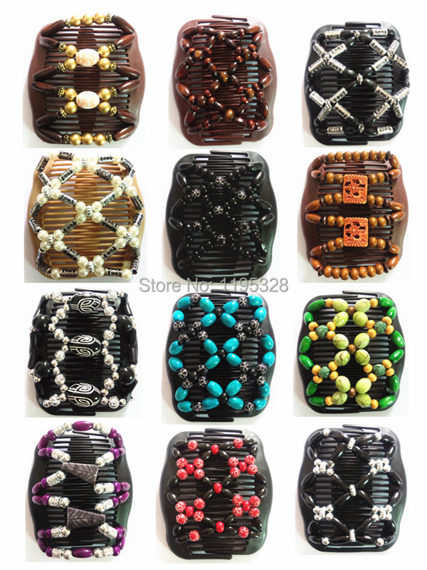 12pcs Mixed Lots Different Styles Wholesale fold over elastic Wood/wooden Beads Double Magic Fashion Women Hair Clip Comb(China (Mainland))