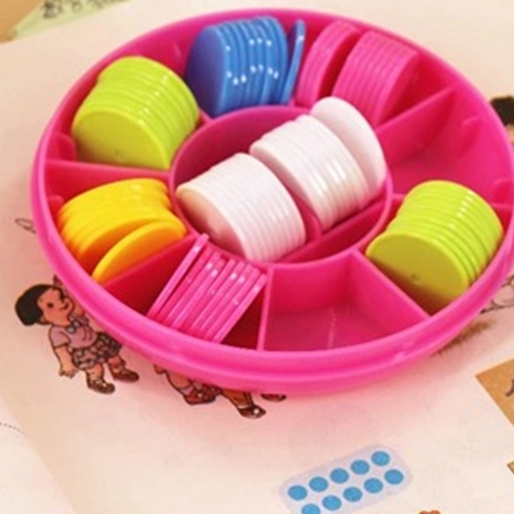100 Pieces Plastic Counters Counting Chips with Storage Box for Kids Preschool Math Learning, Assorted Colors