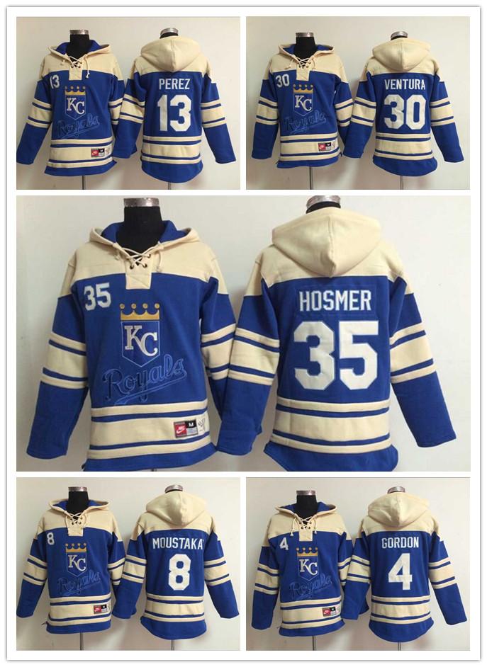 Best quality Fast shipping Kansas City Royals Jersey Yordano Ventura coat Eric Hosmer Alex Gordon Pullover KC Sweatshirts Baseba