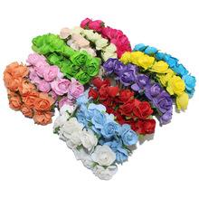 144 Stücke ein Los 1 cm Kopf Multicolor Künstliche Papier Blumen Rose verwenden für dekorative GIF(China (Mainland))