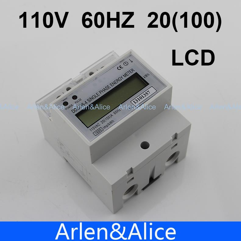 20(100)A 110V 60HZ DDS238-4 Single phase Din rail KWH Watt hour din-rail energy meter LCD(China (Mainland))