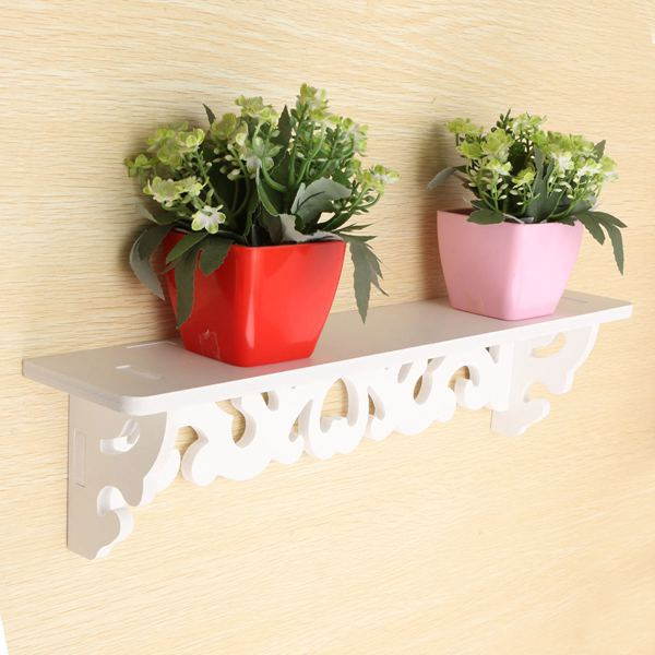 White Wall Hanging Wood Shelf Goods Convenient Rack Storage Holder Home Bedroom Decoration(China (Mainland))
