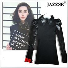 Free Shipping Sheepskin Genuine Leather  Collar Shirt  Cotton  Female Genuine Leather Basic Shirt   S- All code-XL(China (Mainland))