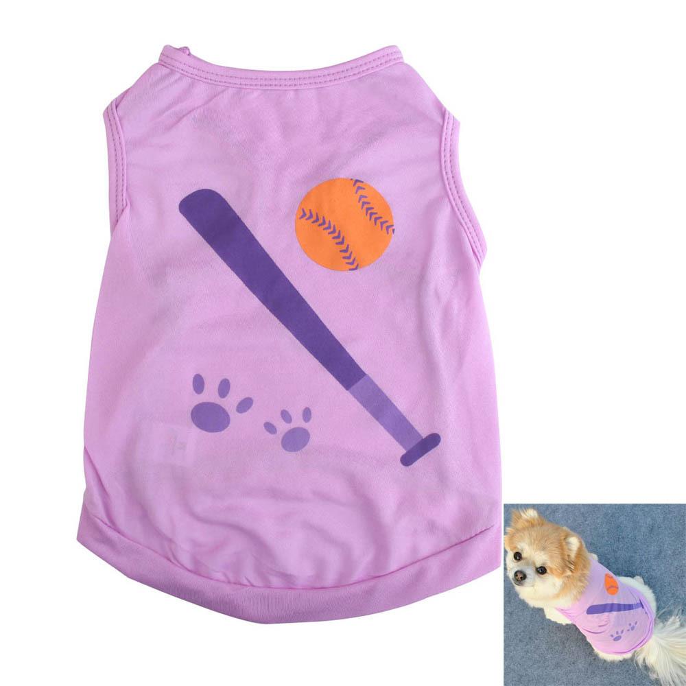 #Cu3 New Fashion Summer Cute Small Pet Dog Puppy Clothes Vest Baseball Print T-shirt Purple(China (Mainland))