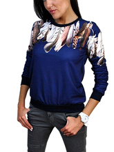 Print Three Quarter Women Shirt Crewneck Pullover Jumper Outwear Blouse Top Tracksuit Blue White Black 3 Color(China (Mainland))