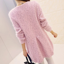 Autumn Female Sweater Coat Han Edition Long Round Collar Loose Pocket Knit Cardigan Women Sweater(China (Mainland))