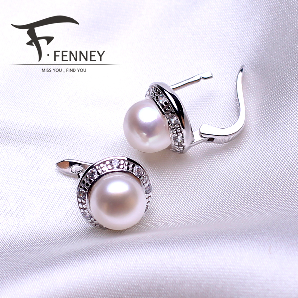 FENNEY 100% natural Pearl earring, Pearl with 925 Sterling Silver earrings,Birthday gift Jewelry Women Accessories earrings(China (Mainland))
