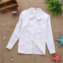 2016 new summer spring    lace cotton solid White baby kids girls Blouse white shirts  with long sleeves for children girls