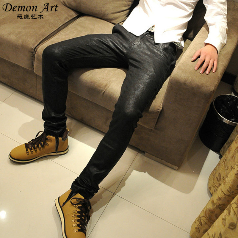 New 2016 Mens Leather Pants Slim Fit Faux Leather Skinny Sweatpants Bright Leather Jeans Black Free Shipping N82(China (Mainland))
