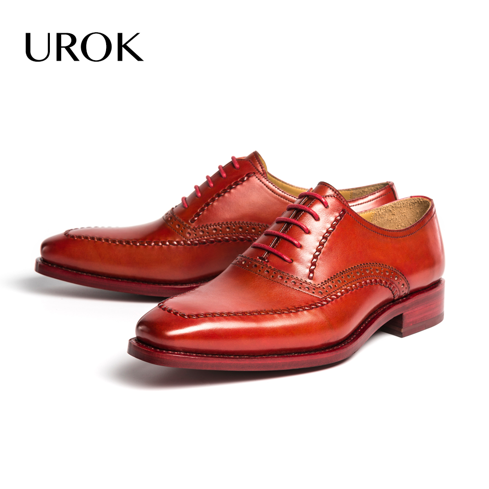 UROK 2016 Custom Made Men Oxford Suit Shoes Goodyear Full Grain Leather Red Bottom Brogue Flats Men Formal Dress Shoes Sapatos(China (Mainland))