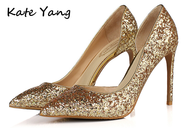 """Glitter Gold Luxury Women Pumps Wedding Shoes Pointed Toe High Heels Shoes Women Sexy Thin Heels Ladies Shoes """"Miss left"""" M0-005(China (Mainland))"""
