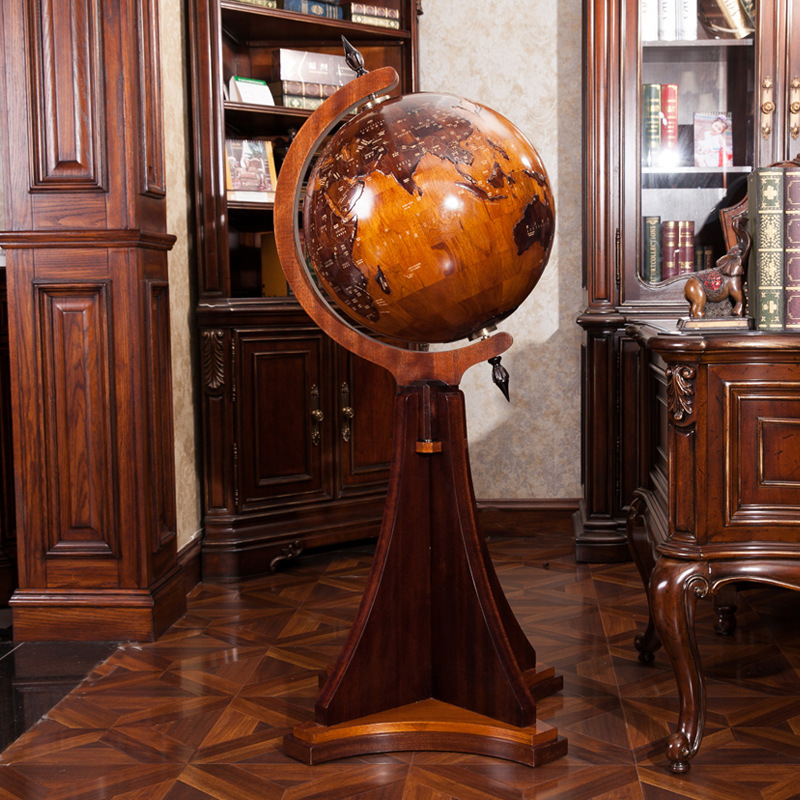 Large wooden globes dimensional relief office furniture company opened in the lobby living room floor ornaments to send to his a(China (Mainland))