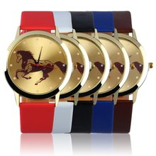 Round Golden Dial Horse Pattern Men Boys Slica Gel Band Quartz Wrist Watch(China (Mainland))