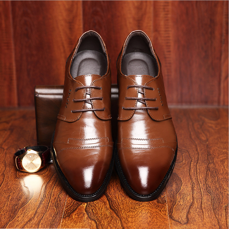 Genuine leather shoes men oxford formal suit male commercial dress leather fashion brogue shoes for men(China (Mainland))