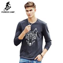 Pioneer Camp 2017 новое поступление мужская фтуболка с принтом волка случайные Стиль мужская Футболка С длинным Рукавом известный бред тёмно синий...(China (Mainland))