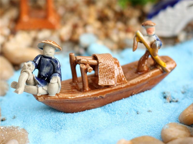 Retro Miniatur Mini Boot Angeln Schiff Modell Spielzeug Handwerk Büro