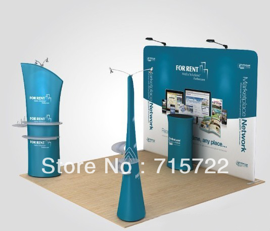 10ft Straight Shape Fabric Pop Up Display Stands(China (Mainland))