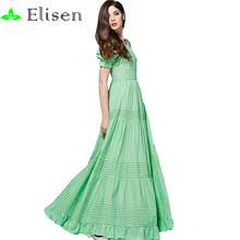 Bohemian Dress High Quality 2016 New Fashion Summer Long Dress Short Sleeve Hollow out Green /Blue Cotton Long Dress(China (Mainland))