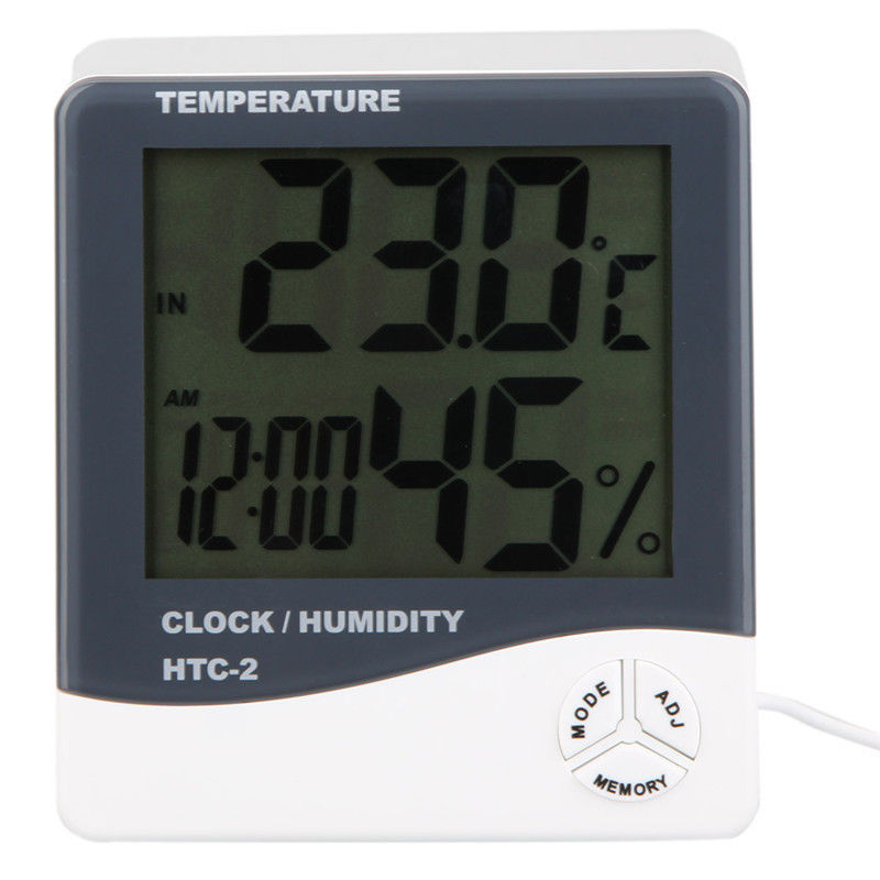Indoor/Outdoor Digital LCD Thermometer Clock Temperature Humidity Meters Tester