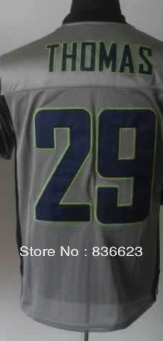 Free shipping - 29 Earl Thomas Men's Gray Shadow Elite Football Jersey, Embroidery and Sewing , mix order(China (Mainland))