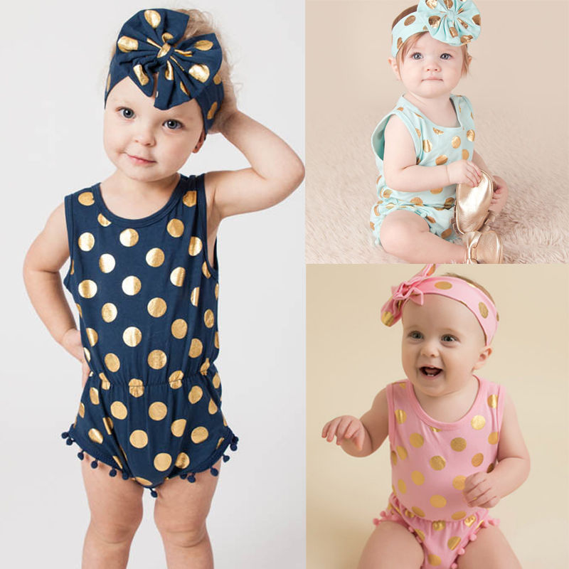 Headband Casual Romper Jumpsuit Baby Girl Clothes Gold