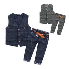 Children Clothing Boys Set Plaid Vest Long Pants Trousers Belt Suits For Wedding Toddler Kids Tuxedo Suit Formal Blazer Clothes (China (Mainland))