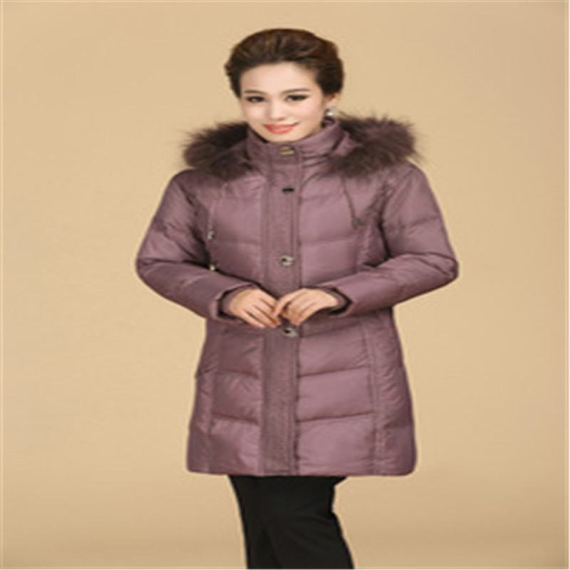 2015 Winter Coat Women Loose Plus Size L~4XL Fur Collar Hooded Long Thick Feminino White Duck Downs Jacket LJ2936