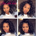 Top Quality 4x4 Silk Top Short Full Lace Wigs with baby hair Virgin Brazilian Curly Glueless