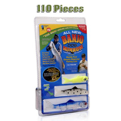110pcs/set Banjo 006 Minnow Fishing Lures Set Sports Fishing Minnow Lure Bait Set Kit Fishing System Soft Plastic Fishing Lures(China (Mainland))