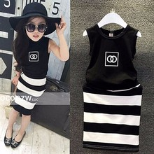 2016 Brand Baby Girls Clothes 2pcs/set Summer Style Vest+stripes Skirt Girls Clothing Set Children's Kids Clothes Sets(China (Mainland))