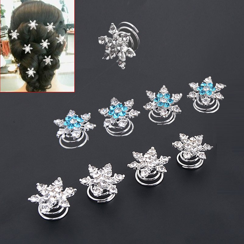 Bridal Wedding Prom Crystal Snowflake Hair Pins Jewelry Swirl Spiral Twist Hairpins Tiara Ornaments Bijouterie Accessories(China (Mainland))