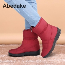 Snow boots 2016 Autumn woman boots slip-resistant waterproof short plush zip woman winter shoes plus size mother winter boots(China (Mainland))