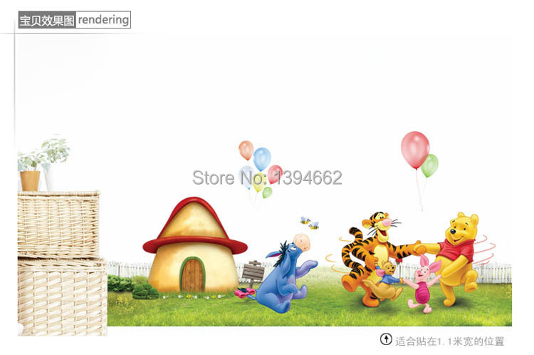 HOT Movable pvc wall stickers children's room decoration / bedroom removable cartoon background winnie the pooh(China (Mainland))