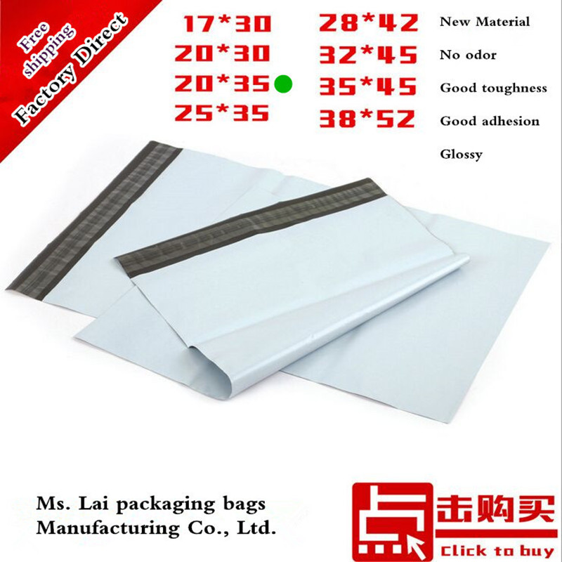 "Factory direct 50pcs 20X34cm 7.87""x13.38"" 100% new material white courier bag / mail envelope bag / waterproof bags 20X35cm(China (Mainland))"
