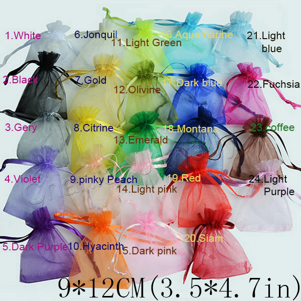 50pcs/bag Selection 24 Colors Jewelry bag 9x12cm organza jewelry packaging display & Jewelry Pouches, free shipping(China (Mainland))