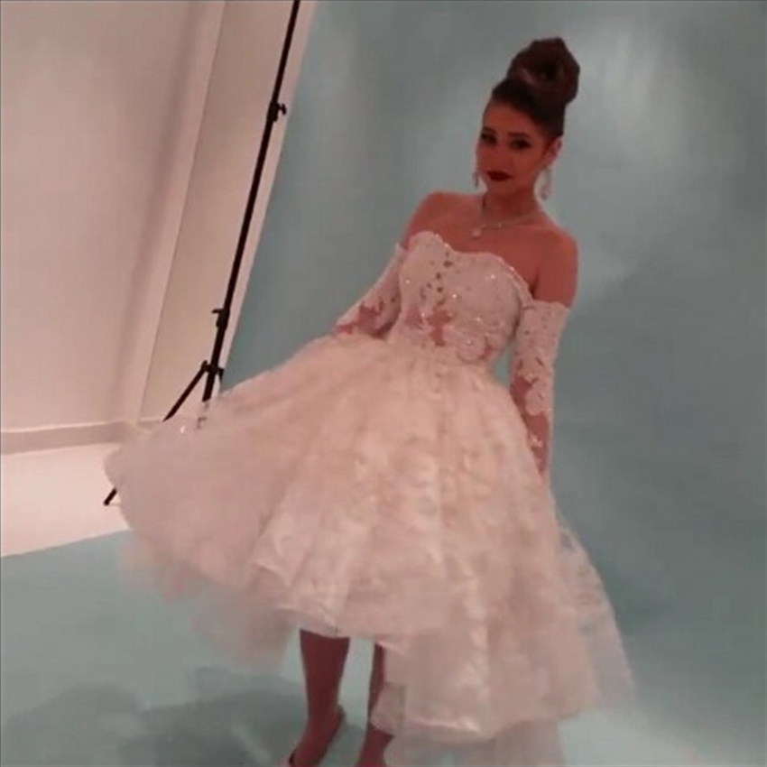 Long sleeve lace wedding dresses ball gown off shoulder for One shoulder long sleeve wedding dress