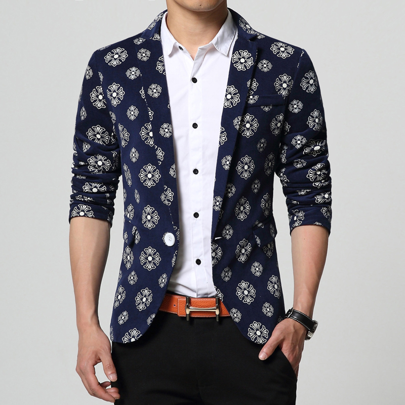 2015 new arrival fashion mens floral blazerone button casual blazer men plus size 6xl men blazer slim fit traje hombre/XF10Одежда и ак�е��уары<br><br><br>Aliexpress