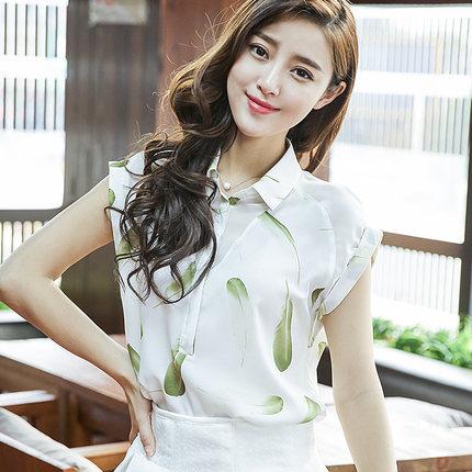 S-2XL Korean summer new women chiffon shirt blouses 2015 female loose short sleeve feather animal print patchwork shirt D3778(China (Mainland))