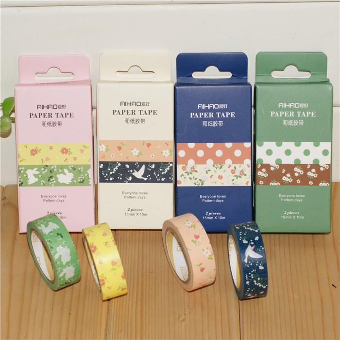 Aihao 66737 colored paper decorative tape student DIY tape 2pcs per box,4boxes per LOT(China (Mainland))
