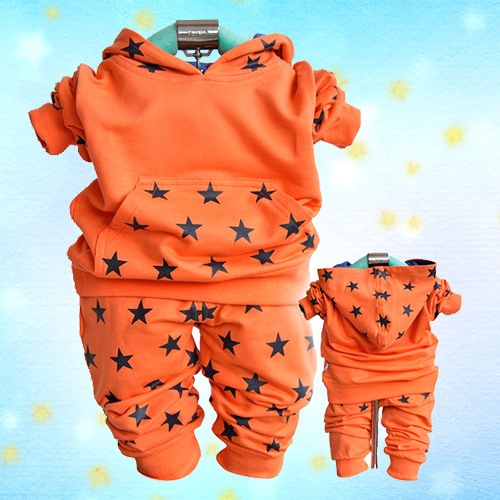 Free / Drop Shipping, Star Children Clothing Set, 3 Colors Cotton Kids Sports Hoodies, Long Sleeve 4-6 Years Old Child Wear(China (Mainland))