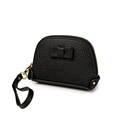 Fashion Full Grain Leather Coin Purse Women Simple Koran Style Lovely Bowknot Zipper Small Key Holder