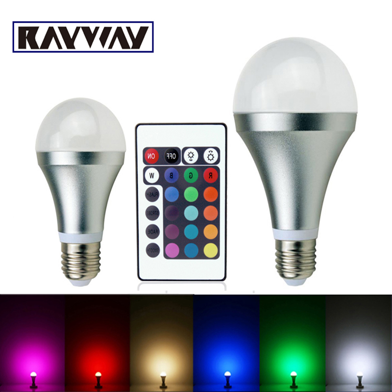 3W 10W RGB E27 16 Colors LED Light Bulb Lamp Spotlight Led Lighting Bulb 85-265V Spotlight + IR Remote Control free shipping(China (Mainland))