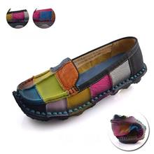 Handmade Vintage Women's Shoes Genuine Leather Female Moccasins Loafers Soft Cow Muscle Sole Casual Shoes Flats Sapato Feminino