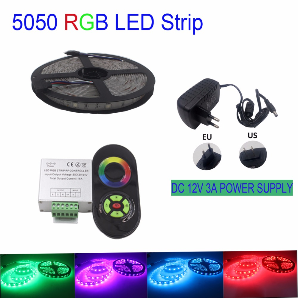RGB Led Strip 5050 SMD 5M 30Leds/m Strip Light DC 12V non-waterproof Led Light Lamp+RF remote controller+3A power supply(China (Mainland))