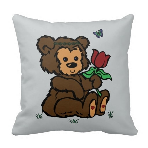 Creative Pillow Hippie Bear Headband Flower Butterfly Pillow Case (Size: 20